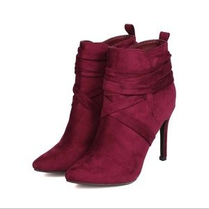 Shoes - Burgundy Suede Lace Wraparound Booties